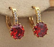 18K Gold Filled - 9mm Round Ruby Topaz Gems Flower Zircon Hoop Women Earrings DS
