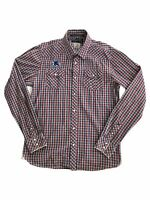 Scotch & Soda Men's Long Sleeve Button Up Collared Shirt Size L Plaid Pattern