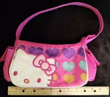 Hello Kitty Sanrio Pink Zippered Fabric Bag with Appliques and Strap
