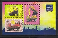SINGAPORE 2010 LONDON 2010 FESTIVAL OF STAMP SHEET 3 STAMPS (YEAR OF TIGER) USED