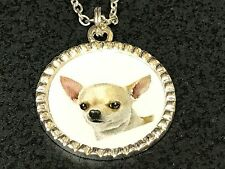 "Dog Chihuahua White Portrait Charm Tibetan Silver with 18"" Necklace Bin"