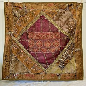 Indian Crazy Quilt Wall Tapestry 44x44 Metallic Embroidery Sequins Beading