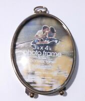Vintage Gold Washed Metal Footed Oval Picture Photo Frame Convex Glass 3x4''