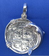 Sterling Silver Spanish Sunken Treasure Coin Replica with Dolphin Bezel Pendant