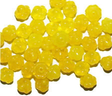 Yellow Opal Flower Czech Pressed Glass Beads 7mm (pack of 40)