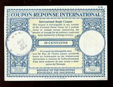PHILIPPINES 1963 REPLY PAID COUPON IRC 30c