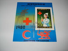 Briefmarken Block Korea Motiv Tag des Roten Kreuzes Roter Halbmond 1980