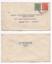 1936 INDIA KGV Cover KALBADEVI BOMBAY to LONDON EC4 GB