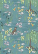 By 1/2 Yard ~ Down by the River Main Teal ~ Lewis & Irene Fabric Otter Duck Bird