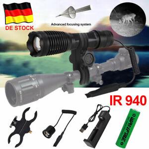 IR 940nm Laser Infrarot Taschenlampe 10W LED Jagdlicht Nachtsicht Fackel Zoombar