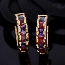 Elegant 18K Gold Plated Ruby Crystal Huggie Hoop Earrings Ear Stud Free Shipping