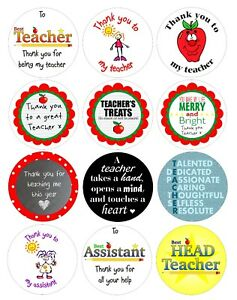 15 x 5cm circular stickers to say thank you to teacher /assistant at end of term