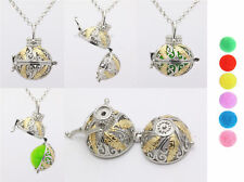 Harmony Ball Pendant Lockets Essential Oil Perfume Diffuser Necklace Feather