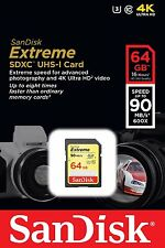 SanDisk 64GB Extreme SDXC 90 MB/S 600x UHS-1 SD Class 10 Memory Card U3 Camera