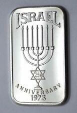 1973 ISRAEL 25TH ANNIVERSARY SILVER .999 FINE ONE OUNCE MOTHER LODE MINT BAR