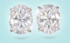 4 ct tw Top Russian CZ Oval Cut Moissanite Simulant Solid 14 kt White Gold