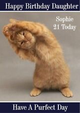 personalised birthday card yoga cat any name/age/relation/