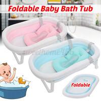 Baby Bathtub Foldable Infant Bath Tub Toddler Bathing Safe Support with Cushion