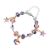 "Military Wife US Flag Charm Bracelet Enameled Elegant Memorial Day Jewelry 6.5"""