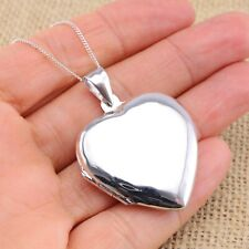925 Sterling Silver Extra Large Plain Heart Photo Locket Pendant Necklace