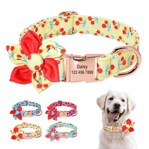 Free Engraving Name Phone Nylon Dog Collar Personalized Gold Metal Buckle S M L