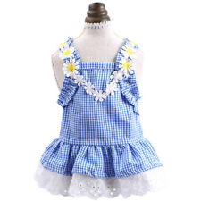 Pet Clothes Dog Cat New Summer Clothing Poodle Flowers Blue Grid Sun Lace Skirt