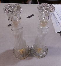 2 Vintage Avon Opalique Opalescent Glass Swirl Candlesticks 1976