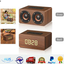 Portable Wooden Wireless Bluetooth Speakers LED Alarm Clock Radio FM TF Card USB
