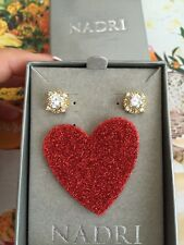 Nadri earrings Gold plated Clear Square CZ crystals Wedding 100% Authentic NEW