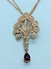 Vintage Art Nouveau Style Gold Rhinestone Lavalier Pendant Chain Necklace