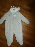 First Impressions Infant UnisexDove Grey Stars Snowsuit 6 -9 months NWT