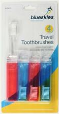 Travel Toothbrushes 4 Pack Fold Up Foldable Toothbrush Holiday Red Blue Compact