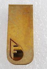 Vintage Collectible Antique Solid Brass Monogram Letter F Thin Money Clip NOS
