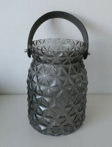 NEXT Pressed Grey Glass Pillar Candle Lantern  With Leather Strap