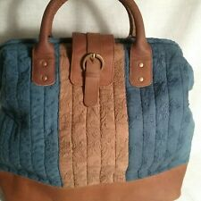 Mo & Co. Overnight Bag Multi-Blue Cotton Canvas Brown Tan Suede Leather Satchel