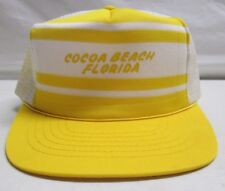 Vintage Cocoa Beach Florida Snapback Trucker Hat Mesh Yellow White Adjust A Size
