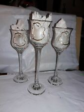 LE Smith Glass Candle Votive Holders Set of 3  Long Stem New Handmade USA NIB