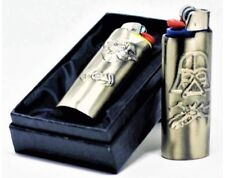 Vintage Nickel Silver Tone Star Wars Characters Bic Lighter Metal Case