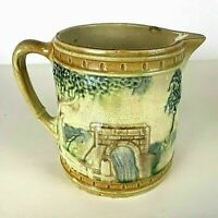 Antique Majolica Pitcher with Trees and Waterfall Motif
