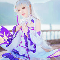 Anime Re:Life in a Different World from Zero Emilia Cosplay Costume Full Set