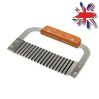 UK Crinkle Cutting Tool French Fry Slicer Stainless Steel Blade Wooden Handle