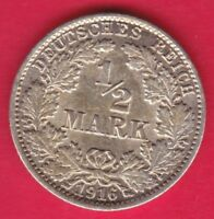 R* GERMANY EMPIRE 1/2 MARK SILVER 1916 J XF DETAILS #12790