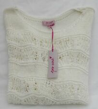 LADIES MARKS & SPENCER PER UNA WHITE KNITTED LACE STYLE JUMPER SIZE 16