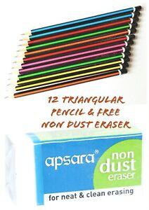 12 HB Pencil Office School Craft Art Drawing Break-Resistant Triangular Eraser