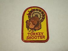 Vintage Hunting Turkey Shooter with Target Tail Feathers Iron On Patch