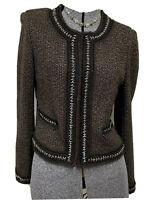 Elie Tahari Virgin Wool Cashmere Alpaca Blend Hook & Loop Cardigan Sweater M