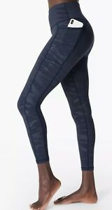 Sweaty Betty Super Sculpt High Waisted Embossed Yoga Leggings Blue Floral Print