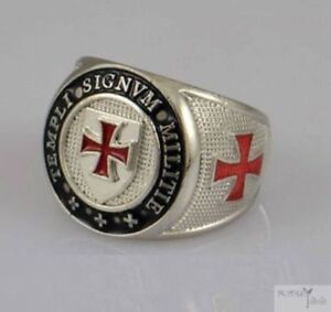 KNIGHTS TEMPLAR Masonic Militie Signum Heavy Quality Ring Sizes 19-22mm S,U,W,Z