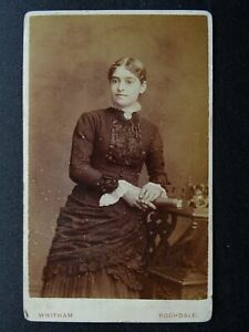 Victorian CDV Carte de Visite photograph of Lady (1) by Whitham Studio Rochdale