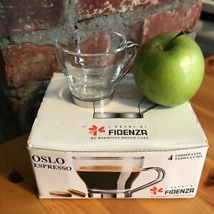 """Set of 4 /2.5"""" Italy Fidenza Oslo Expresso Tempered Fine Glass & Metal Cups Box"""